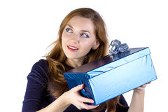 Image of young woman received the gift Royalty Free Stock Image