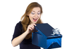 Image of young woman received the gift Royalty Free Stock Images