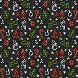 Seamless Pattern with Christmas Symbols on Black Background. Image for your design project Stock Image