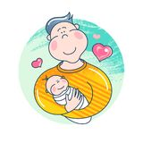 Day of fathers. Dad holding his baby. Attractive cartoon characters. Image for your design projects Royalty Free Stock Photography