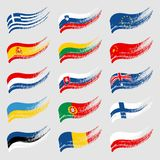 Hand-drawn flags of the world on light background. Image for your design projects Royalty Free Stock Photos