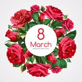 8 March Women`s Day greeting card template. Red roses isolated on light background. Image for your design projects royalty free illustration