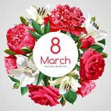 8 March Women`s Day greeting card template. Red and white flowers isolated on light background. Image for your design projects Stock Photos