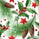 Seamless Pattern with Christmas Symbol - Holly Leaves, Christmas Tree with Cones and Stars on White Background. Image for your design projects Royalty Free Stock Photos