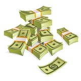 Set of money. Packing in bundles of bank notes. Isolated on white background. Image for your design projects Royalty Free Stock Photography