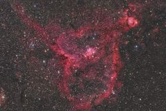 IC 1805 Heart Nebula. Imaged with a telescope and a scientific CCD camera stock illustration