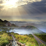 Imageing of beautiful landscapes with green road and nice backgr Royalty Free Stock Images