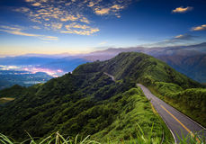 Imageing of beautiful landscapes with green road and nice backgr Stock Photos