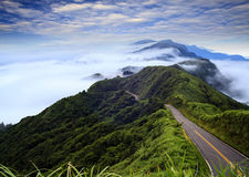 Imageing of beautiful landscapes with green road and nice backgr Stock Photography