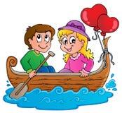 Imagem 1 do tema do barco de amor Foto de Stock