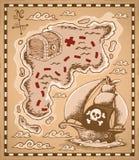 Imagem 1 do tema do mapa do tesouro Imagens de Stock