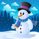 Imagem 2 do tema do boneco de neve do inverno Fotografia de Stock Royalty Free