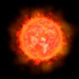 imagem 3d do sol isolada no fundo do balack ilustração stock
