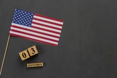 Imagem aérea da opinião de tampo da mesa da decoração o sinal do Dia do Trabalhador em setembro 3,2018 dos EUA fotos de stock