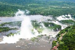 Imagem aérea de Iguazu Falls, Argentina, Brasil Imagens de Stock Royalty Free