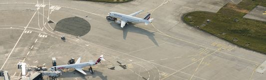 Imagem aérea do panorama de Air France Airbus A320 em Orly Airport Fotografia de Stock Royalty Free