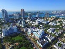 Imagem aérea Miami Beach ao sul da 5a rua Imagens de Stock Royalty Free