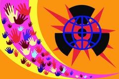 Imagem abstrata com mãos coloridos em um fundo de listras amarelas e roxas ilustração royalty free