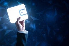 A imagem abstrata da posse do homem de negócios o holograma da carteira disponível imagens de stock