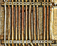 Imagem abstrata de linhas de abastecimento muito velhas do poder da paralela, granulado Imagem de Stock