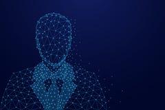 Imagem abstrata de um homem de negócios no terno sob a forma de um céu ou de um espaço estrelado, consistindo em pontos, em linha Imagem de Stock Royalty Free