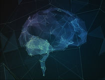 A imagem abstrata do cérebro humano no formulário alinha ilustração stock