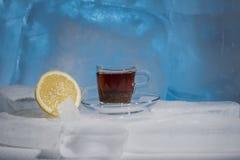 Imagem abstrata do chá frio com limão, ainda vida no gelo Imagens de Stock Royalty Free