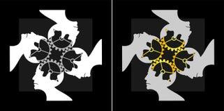 Imagem abstrata do logotipo coletivo do trabalho da equipe da inteligência Imagens de Stock Royalty Free