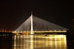 Imagem abstrata - luzes da noite da ponte de suspensão imagens de stock