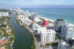 Imagem aérea de condomínios de Miami Beach Foto de Stock