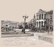 Imagem artística do desenho digital do esboço de Kiev ilustração royalty free