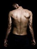 Imagem artística do grunge do homem com parte traseira muscular Fotografia de Stock Royalty Free