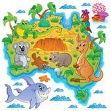 Imagem australiana 3 do tema do mapa Imagens de Stock Royalty Free