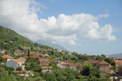 Imagem bonita da cidade Tivat em Montenegro foto de stock