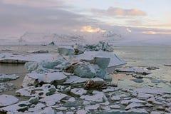 Imagem bonita da paisagem do islandês no inverno Lago da geleira imagem de stock royalty free