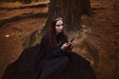 Imagem bonita e misteriosa nova da mulher do duende ou da bruxa da floresta, olhando no espelho imagens de stock royalty free