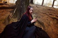Imagem bonita e misteriosa nova da mulher do duende ou da bruxa da floresta, olhando no espelho fotografia de stock royalty free