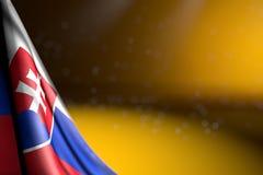Imagem bonito da diagonal de suspensão da bandeira de Eslováquia no amarelo com foco macio e no espaço livre para seu índice - al ilustração do vetor