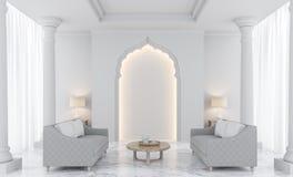 Imagem branca luxuosa da rendição da sala de visitas 3D Ilustração do Vetor