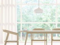 Imagem branca moderna da rendição da sala de jantar 3d Ilustração do Vetor