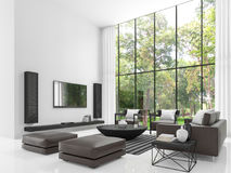 Imagem branca moderna da rendição da sala de visitas 3d Imagem de Stock