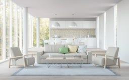 Imagem branca moderna da rendição da vida, da sala de jantar e da cozinha 3D Imagens de Stock Royalty Free