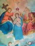 A imagem católica típica da coroação da Virgem Maria (em minha própria casa) imprimiu em Alemanha do fim de 19 centavo imagens de stock