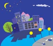 Imagem colorida da cidade da noite ilustração do vetor