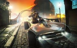 Imagem colorida do motorista fêmea na cidade velha foto de stock royalty free