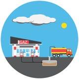 Imagem colorida do posto de gasolina Imagens de Stock Royalty Free