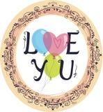 A imagem com balões e as palavras amam-no Imagens de Stock Royalty Free