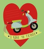 imagem com bicicleta motorizada e montanhas ilustração royalty free