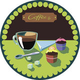 Imagem com café e bolos ilustração stock