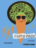 Imagem com a cenoura e o texto eu amo o funk ilustração royalty free
